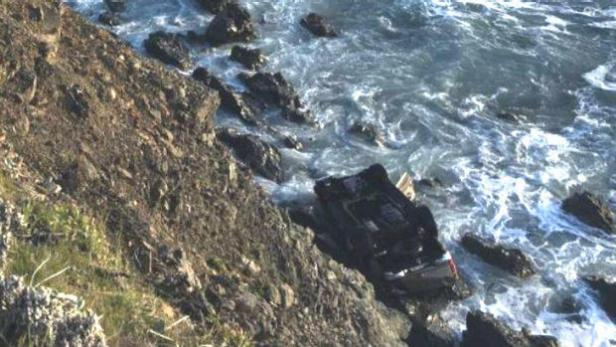 The Hart Family SUV at the bottom of the cliff [California Highway Patrol]