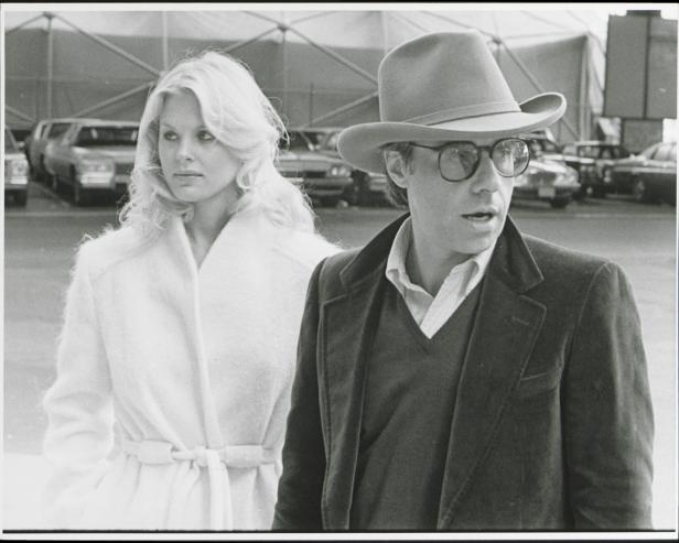 "Dorothy Stratten and Peter Bogdanovich on location of their film ""They All Laughed,"" 1980 [The LIFE Picture Collection via Getty Images]"