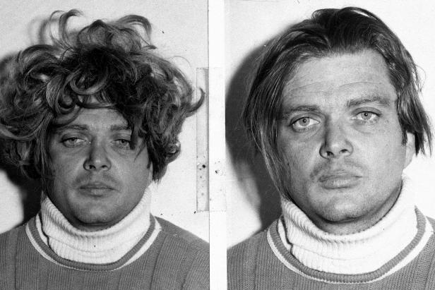 Charles Schmid is shown with and without the wig he had on when captured after escaping from the penitentiary, Nov. 14, 1972. (AP Photo)
