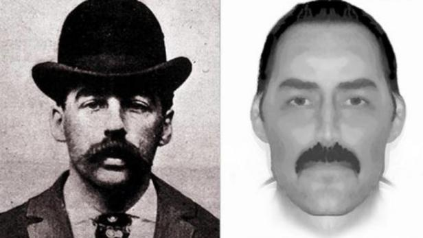 H. H. Holmes [public domain/Wikimedia Commons]; E-fit of Jack the Ripper [Scotland Yard]