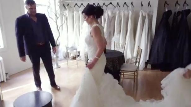 Benita Alexander with one of the custom-made gowns intended for her wedding [Investigation Discovery]