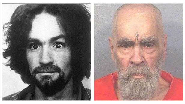 Charles Manson mug shots: 1969 [LAPD] and 2017 [Corcoran State Prison]