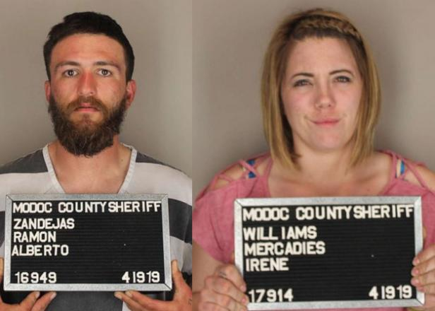 Mug shots of Ramon Zendejas and Mercadies Williams [Modoc County Sheriff's Office]