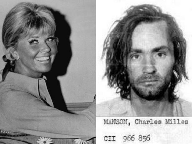 Doris Day [Wikimedia Commons]; Charles Manson [Los Angeles Police Department]