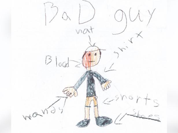 Child's sketch of a motorist who fled the scene of a crash [Berlin Police Department]