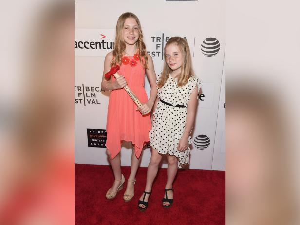 Isabel Rose Lysiak (L) and Hilde Kate Lysiak attend the Tribeca Disruptive Innovation Awards during Tribeca Film Festival, April 22, 2016 in New York City [Gary Gershoff/Wire