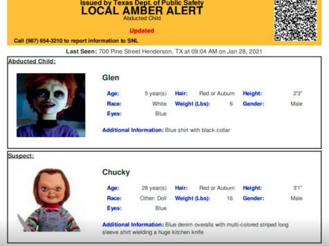 "Texas Amber Alert Warns Killer Doll ""Chucky"" Is Suspect In Kidnapping"